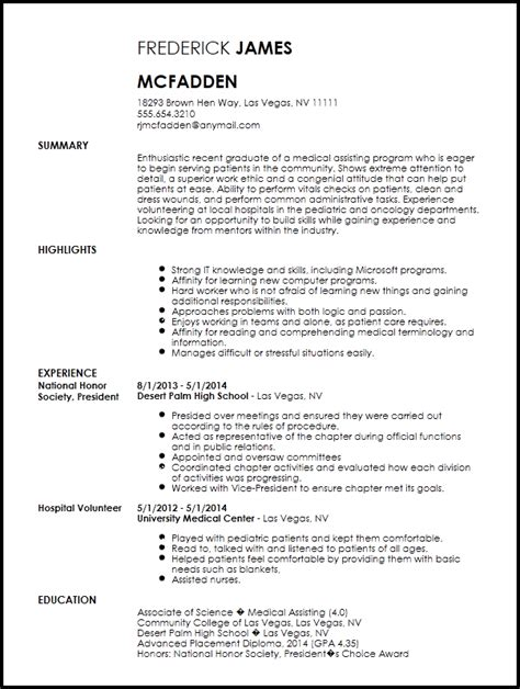 Free Entry Level Medical Assistant Resume Template Resumenow
