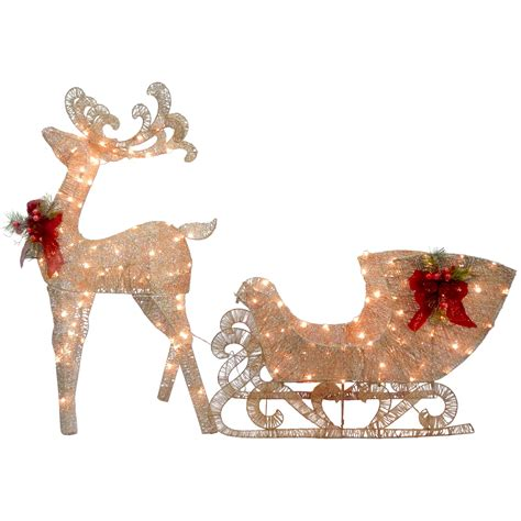 Santa Sleigh Outdoor Decoration by National Tree Co Reindeer And Santa S Sleigh With Led