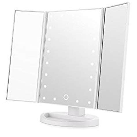 easehold tri fold illuminated vanity mirror 21pcs led lights touch screen lighted makeup table