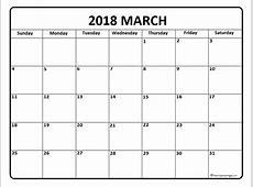March 2018 Printable Calendar yearly printable calendar
