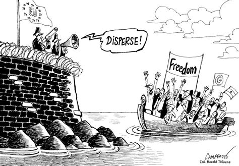 Cartoon Refugee Boat by Refugees Flock To Europe Chappatte