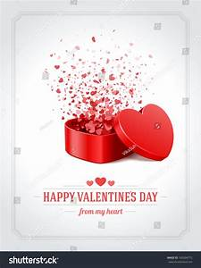 Happy Valentines Day Card Open Heart Stock Vector ...