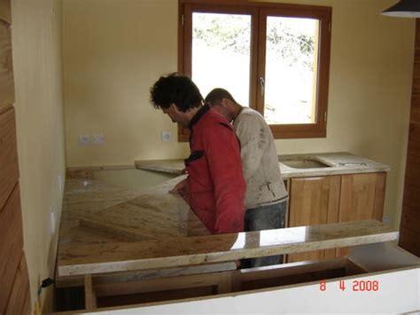 pose du plan de travail en granit suivi de la construction d une maison ossature bois 224