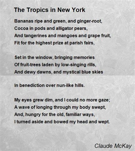 the tropics in new york poem by claude mckay poem