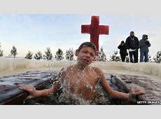 Russia's trend for dipping children in frozen rivers BBC
