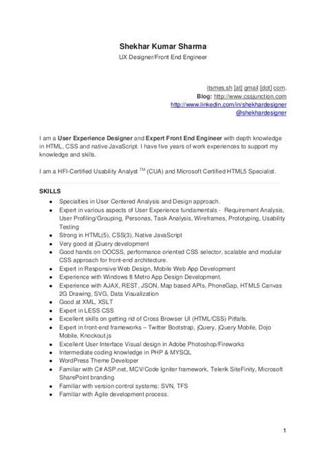 Ux Designer And Front End Engineer Cv (resume