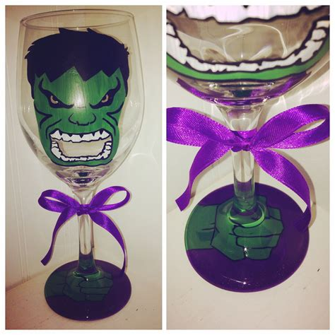 The Hulk hand painted wine glass Marvel  Hulk wedding