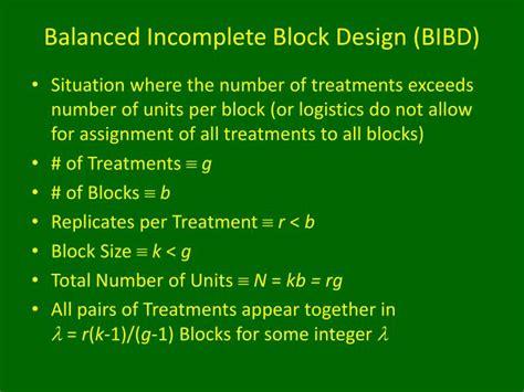 ppt balanced incomplete block design powerpoint