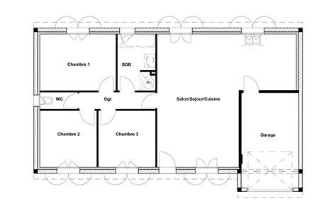 plan maison plain pied 80