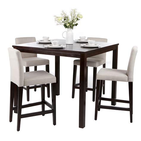 ensemble table de bar 4 chaises hautes en bois de manguier massif natura chez delamaison
