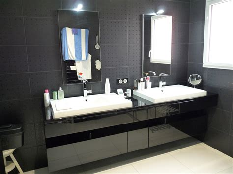 meuble salle de bains laque noir brillant artibois