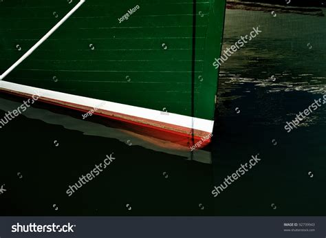 Lobster Boat Docking by Red White Green Wooden Bow On Stock Photo 92739943