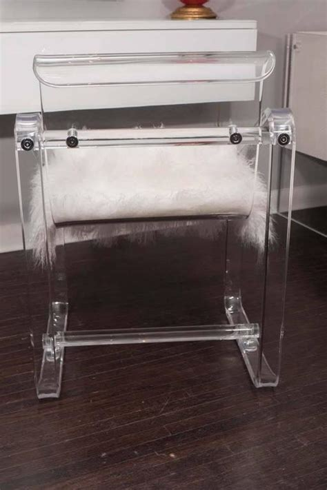 vintage 1970s lucite desk chair with new mongolian cushion at 1stdibs