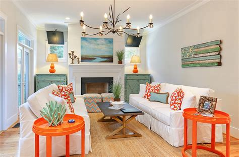 orange and teal living room decor