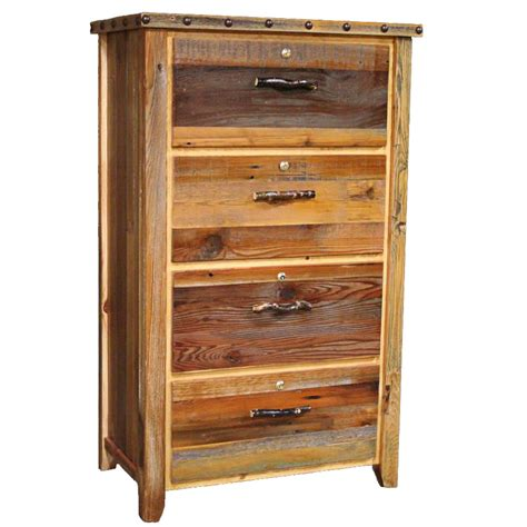 Barnwood Locking Lateral Filing Cabinet With Nailheads  4