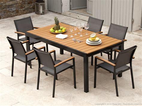 salon de jardin aluminium gris et composite bois 1 table extensible 180 280cm assises maelig