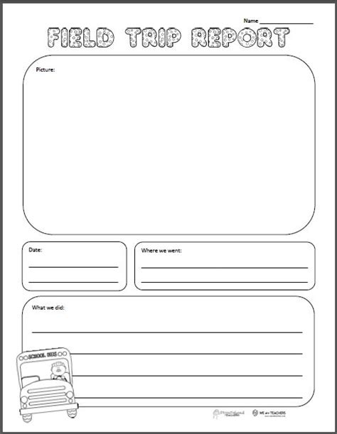 Theory Substruction Paper Template by Field Trip Report Free Printable Squarehead Teachers