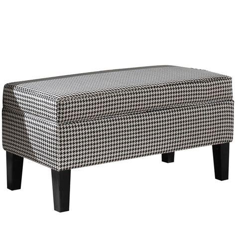 skyline furniture banc de rangement rembourr 233 en tissu berne noir home depot canada