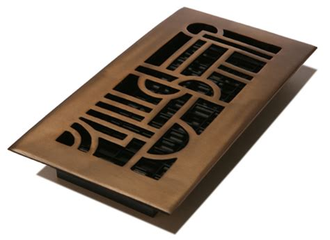 4x12 solid brass deco floor register with a rubbed