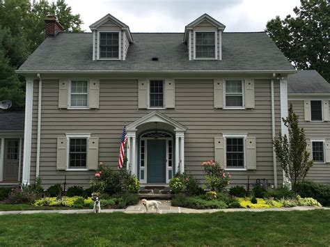 Rockport Gray, Revere Pewter Shutters And Van Courtland