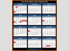 Free Editable Printable Calendar 2019 with NSW [New South