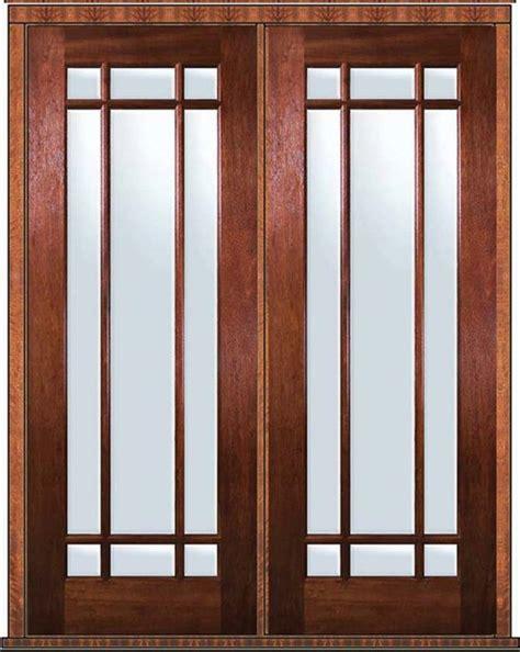 prehung patio door 96 wood mahogany 9 lite marginal tdl glass craftsman patio doors