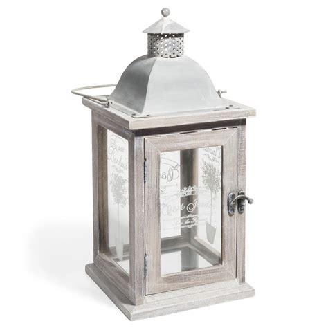 lanterne en bois blanchi h 36 cm olivier maisons du monde