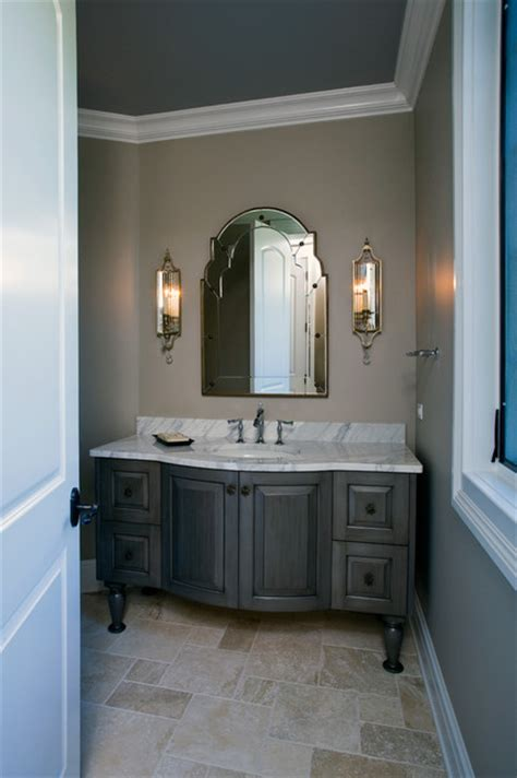 Formal Powder Room With Grey Stained Furniture Style