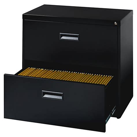lorell steel letter size lateral file cabinet 2 drawer 27 34 h x 30 w x 17 1316 d black by