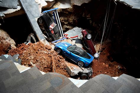 photos corvette museum finds greater fame in sinkhole