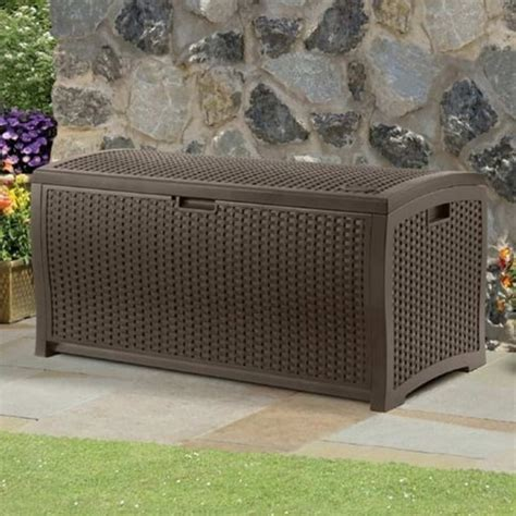 suncast resin wicker deck box 375l garden