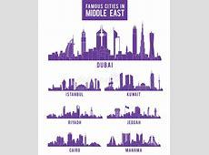 Set Of Cities In Middle East Famous Buildings Stock Vector
