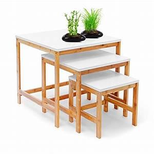 Beistelltisch Weiß Holz : relaxdays beistelltisch bamboo 3 satztisch wohnzimmertisch holz bambus weiss lackierte ~ Markanthonyermac.com Haus und Dekorationen