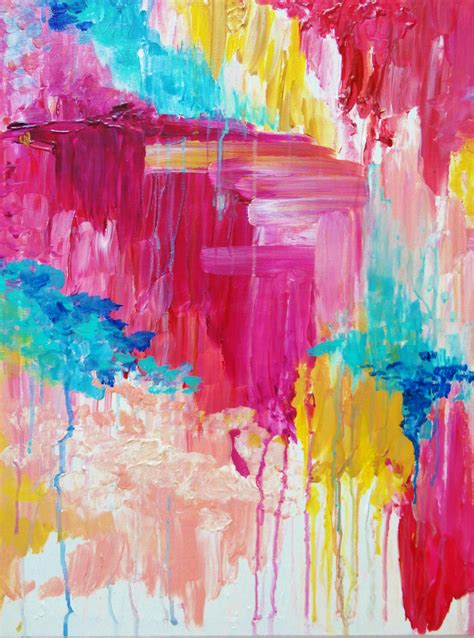 Beautiful Pastel Pop Of Color Painting Free Shipping