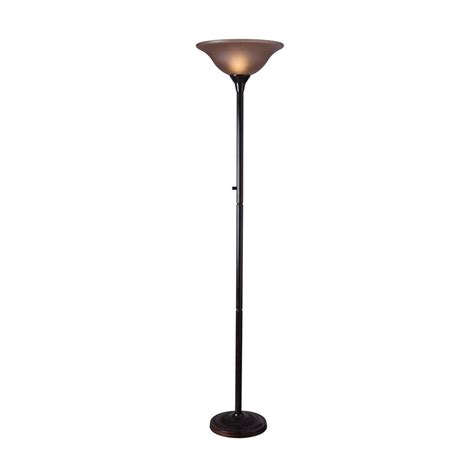 shop kenroy home riverside 72 in three way copper bronze torchiere floor l with glass shade