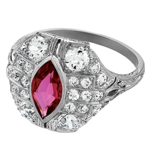 deco ruby and platinum ring for sale at 1stdibs