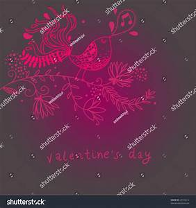 Cartoon Lovely Bird Singing Valentine Card Stock Vector ...