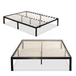 axon metal platform bed frame with wooden mattress