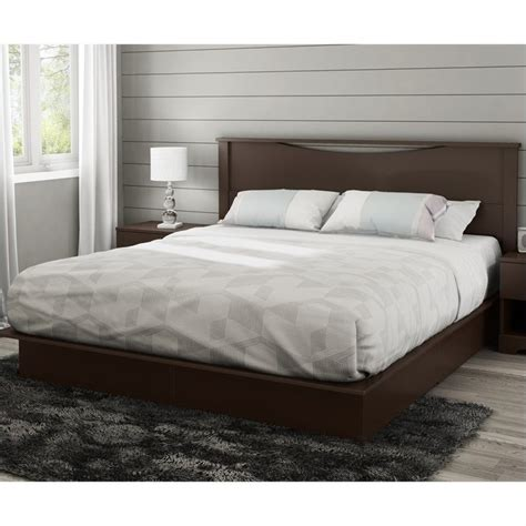 south shore step one king platform w headboard drawers chocolate bed ebay