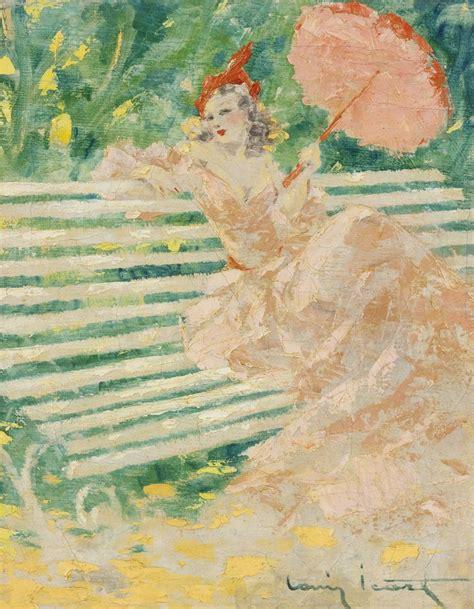 louis icart 1888 1950 femme avec un parasol signed louis icart lower right on canvas 16 1
