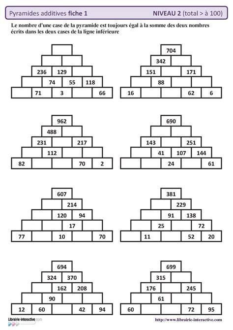 10 fiches autocorrectives avec des pyramides additives de niveau 2 r 233 sultat sup 233 rieur 224 100