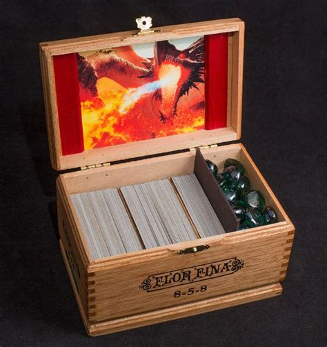 magic the gathering wooden deck box custom image