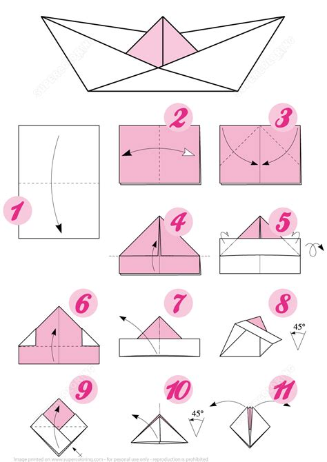 How To Make A Paper Ninja Boat by Origami Boat Instructions Free Printable Papercraft