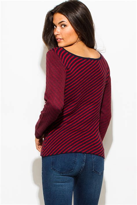 Boat Neck Wine Red Sweater by Shop Wholesale Womens Wine Red Navy Blue Fuzzy Striped