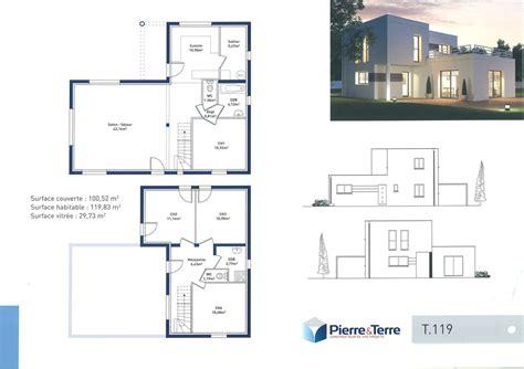 plan maison contemporaine avec etage mc immo