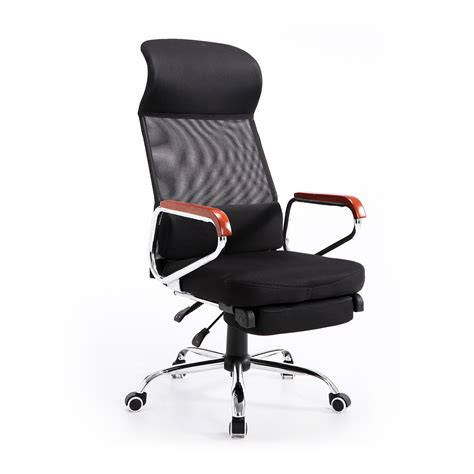 homcom mesh high back reclining office chair with foot
