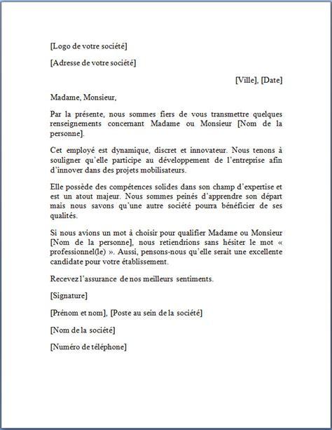 exemple de lettre de recommandation lettre de recommandation