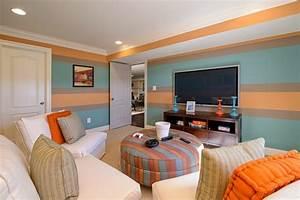 Maler Ideen Wohnzimmer : wand streichen ideen wohnzimmer streifen hellblau orange malerhandwerk erleben ~ Markanthonyermac.com Haus und Dekorationen