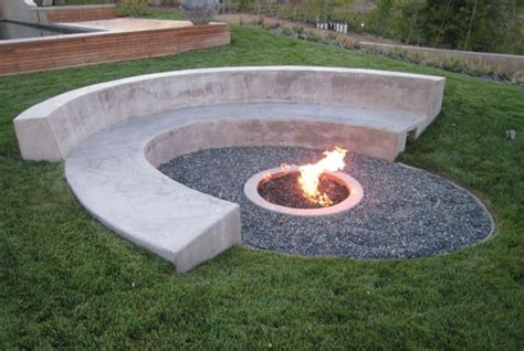 Curved Concrete Bench With Fire Pit  Cleaning Your