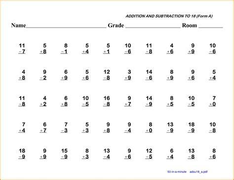 5+ 1st Grade Math Worksheet  Western Psa
